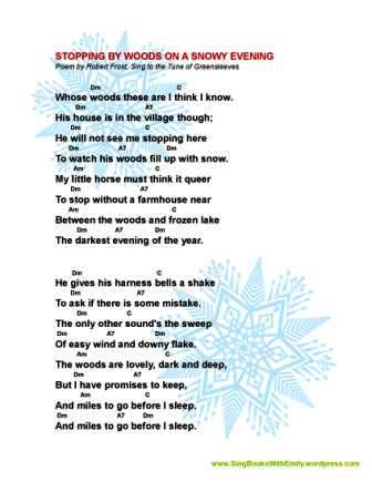 Stopping By Woods On A Snowy Evening A Singable Book Song History