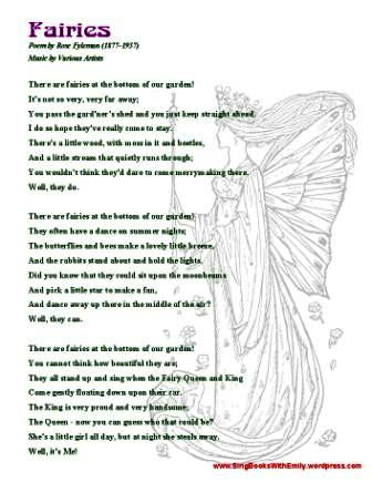 FAIRIES (Rose Fyleman) Song Sheet SBWE