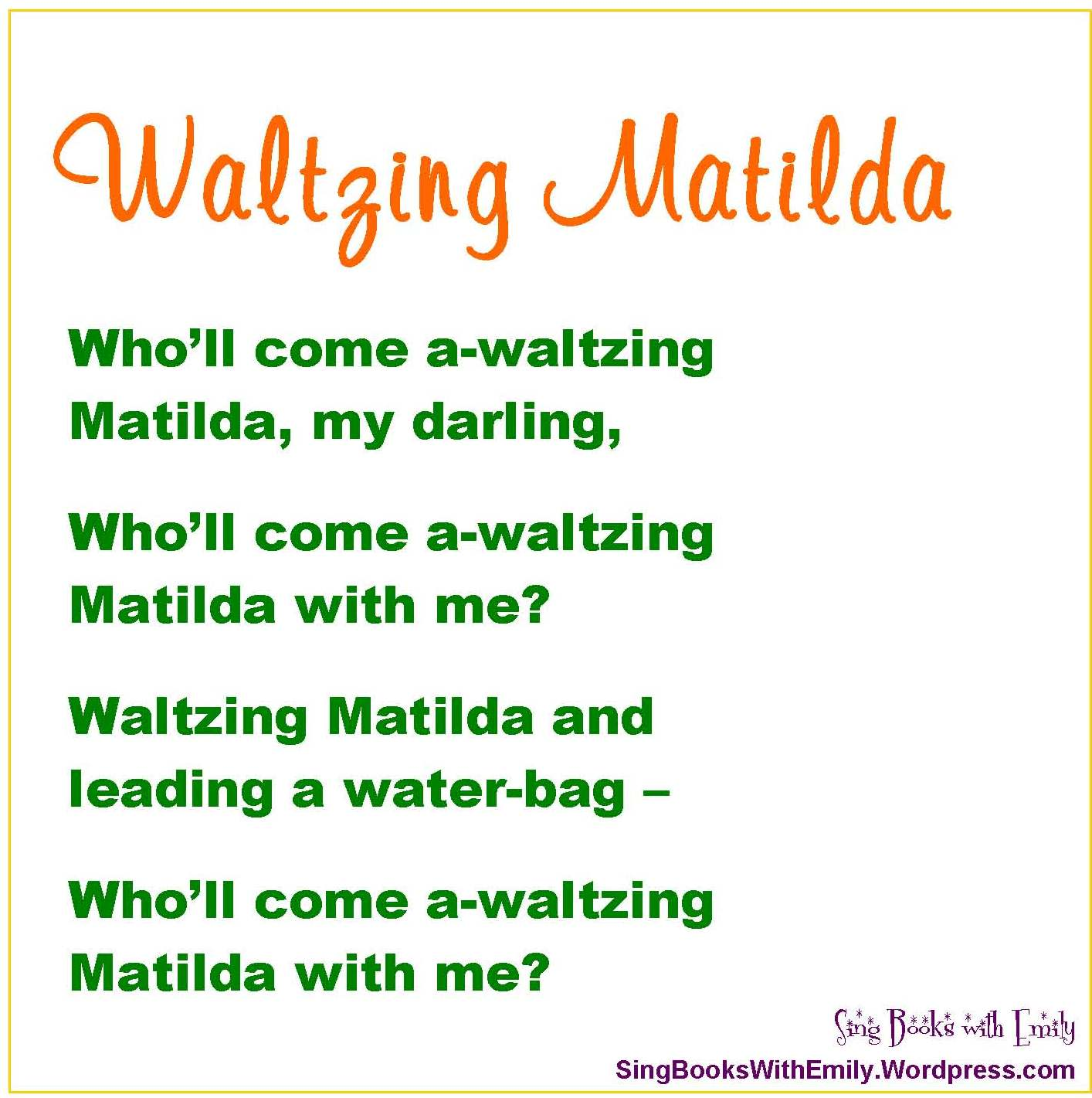 Waltzing Matilda A Singable Picture Book Sing Books With Emily