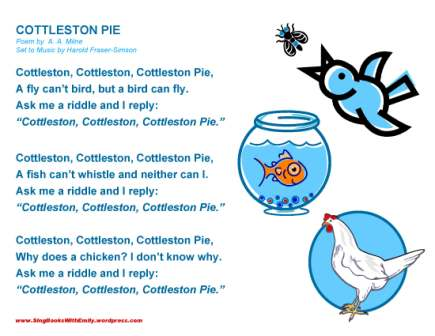 COTTLESTON PIE little song sheet sbwe