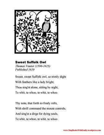 Sweet Suffolk Owl - poem handout