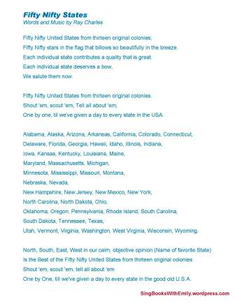 Click here for printable lyric sheet for Fifty Nifty States :