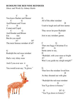 picture regarding Words to Rudolph the Red Nosed Reindeer Printable identified as Rudolph the Pink Nosed Reindeer, an Illustrated Track Sing