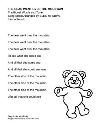 Bear Went Over the Mountain for SBWE (no chords)