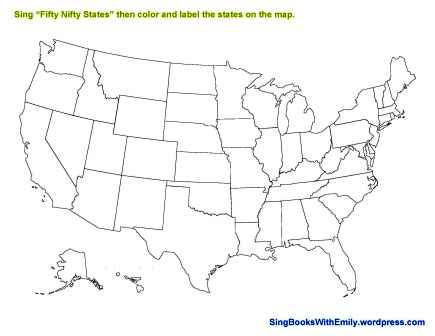 United States Map Coloring Page | Sing Books with Emily, the Blog
