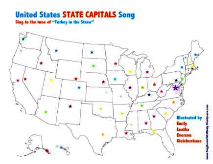 United States State Capitals Song A Singable Picture Book Sing - Blank-us-map-with-capitals