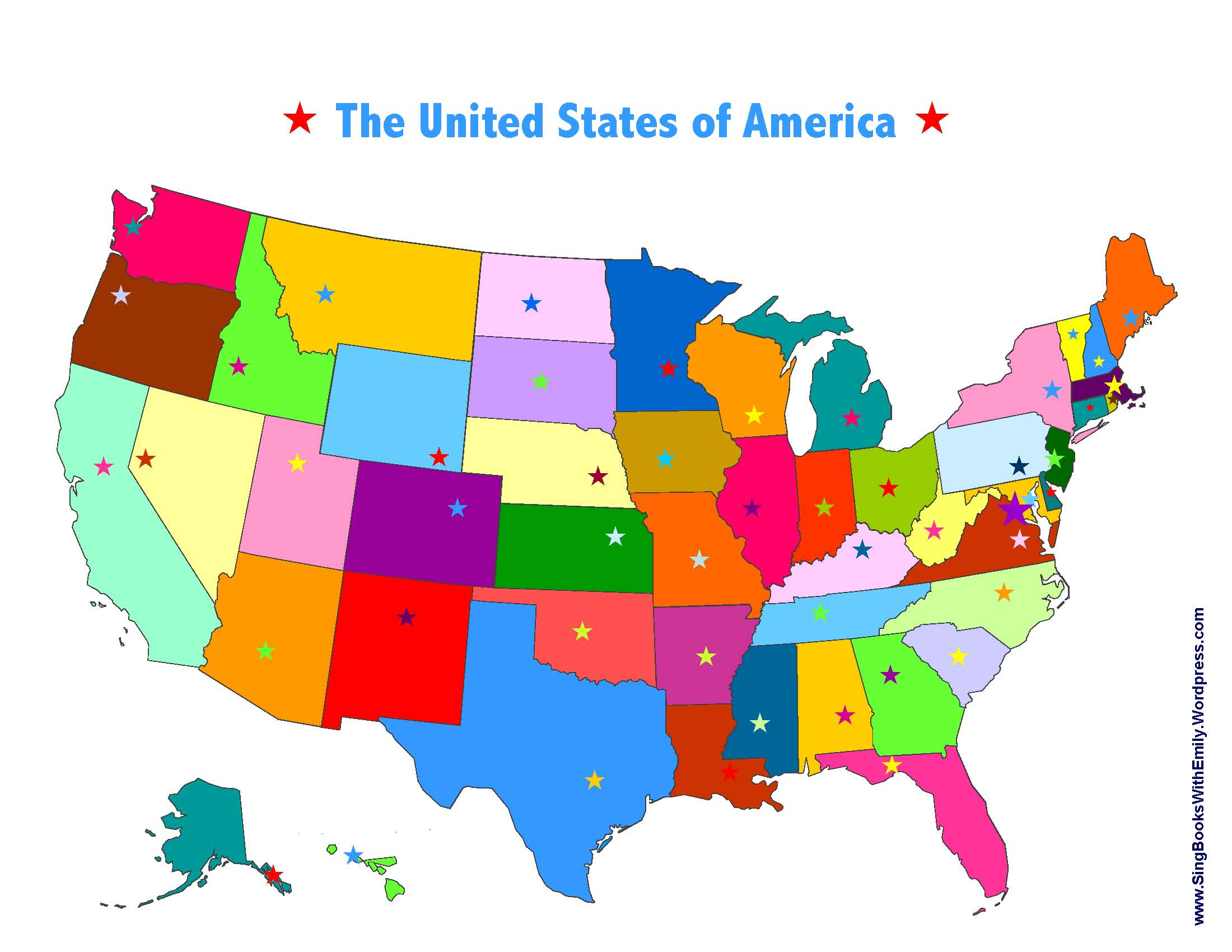 USA map with colors capital stars SBWE Sing Books with Emily