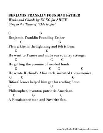 Benjamin Franklin song sheet by ELEG for SBWE