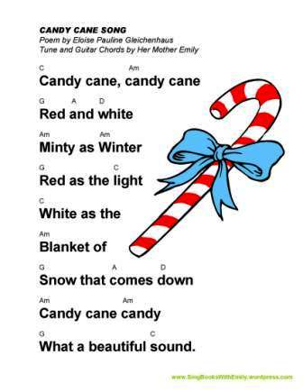 An All Year Long Song Sheet with Guitar Chords for CANDY CANE SONG ...