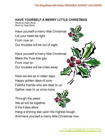 Merry Little Christmas Lyrics.Have Yourself A Merry Little Christmas A Singable Picture