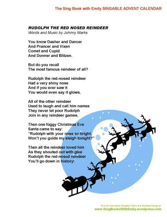 image regarding Rudolph the Red Nosed Reindeer Lyrics Printable named SBWE Singable Introduction Calendar: Ruldolph the Pink Nosed