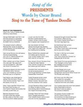 Song of the Presidents (words by Oscar Brand) lyric sheet