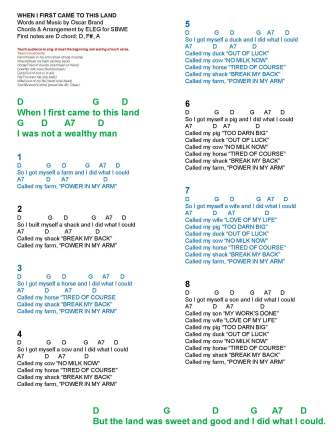 when i first came to this land song sheet with chords