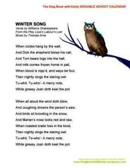 SBWE Advent Calendar Winter Song