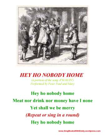 hey ho nobody home sbwe sing along sheet 1