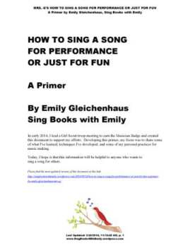 HOW TO SING A SONG (a primer by Mrs. G) cover only
