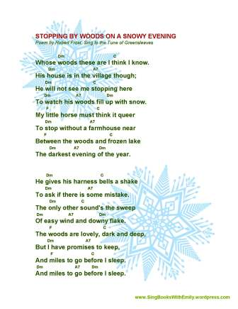 A Song Sheet With Guitar Chords For Stopping By Woods On A Snowy