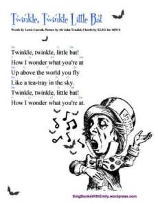 TWINKLE LITTLE BAT (L. Carroll) song card w chords 4 sbwe