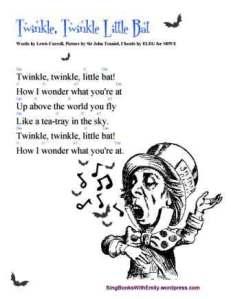 TWINKLE LITTLE BAT (L. Carroll) song card w chords 4 sbwe