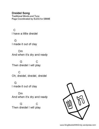 New Song Sheets with Guitar Chords for DREIDEL SONG and I HAVE A ...