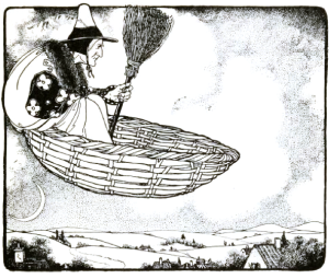 she who rides a basket with a broom 4