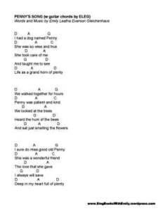 penny's song eleg sbwe lyrics w chords