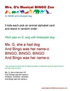 Mrs Gs Musical Bingo Zoo w Limberjack Dog