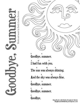 sing books with emily songbook series sheet for goodbye summer