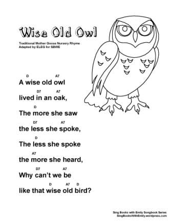 Wise Old Owl, a Singable Illustrated Mother Goose Nursery Rhyme ...