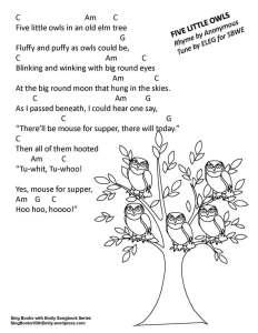 five little owls w chords ELEG SBWE SBS 2