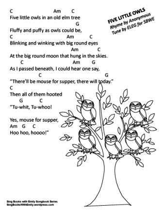 five little owls w chords ELEG SBWE SBS