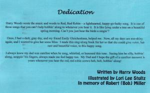 Red Robin dedication page for book