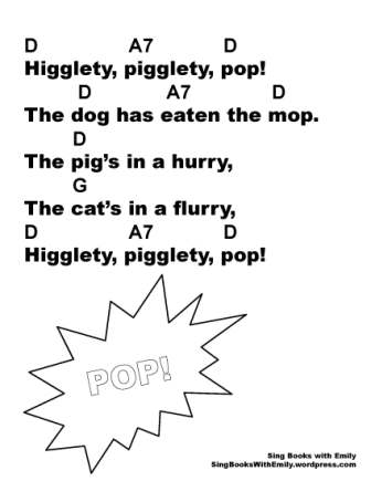 Higglety pigglety pop w chords in D bw