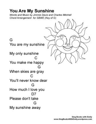 you are my sunshine eleg sbwe (key of G)