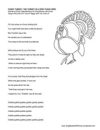 funny turkey song sheet eleg sbwe no chords
