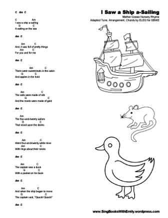 I Saw a Ship a-Sailing for SBWE song sheet ELEG 2