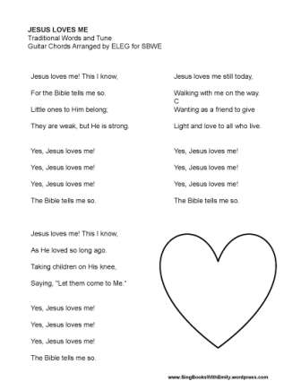 Song Sheets With And Without Chords For Jesus Loves Me Sing