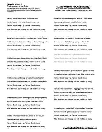 A Song Sheet (with and without guitar chords) for Steven Kellogg\'s ...
