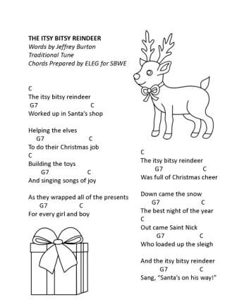 itsy bitsy reindeer word w chords