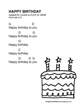 Happy Birthday Song, song sheet with ukulele chords by ELEG for SBWE ...