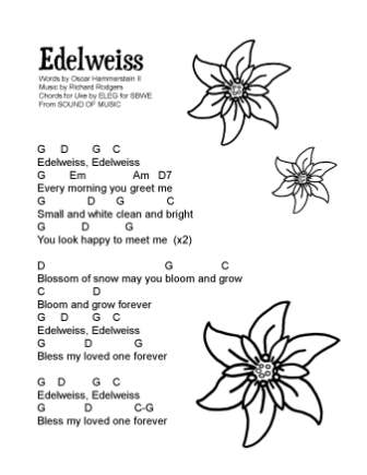 Edelweiss, a new song sheet with chords for ukulele (and