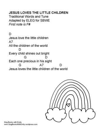 Jesus Loves the Little Children for SBWE w chords in D