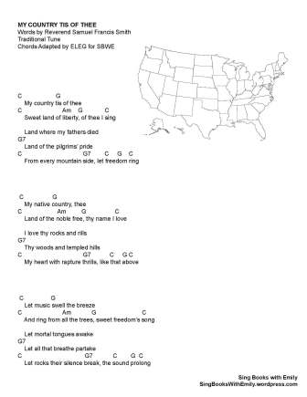 My Country tis of Thee for SBWE w chords full song one page