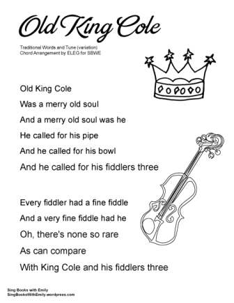 SBWE SBS old king cole no chords child's world variation