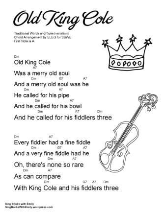 SBWE SBS old king cole w chords Dm child's world variation
