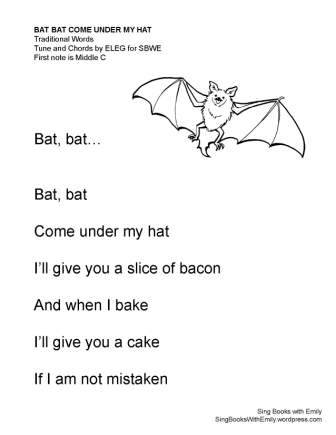 bat bat come under my hat (no chords)