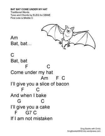 bat bat come under my hat w chords C