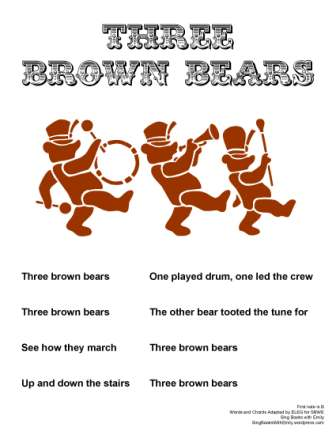 three brown bears sbwe no chords