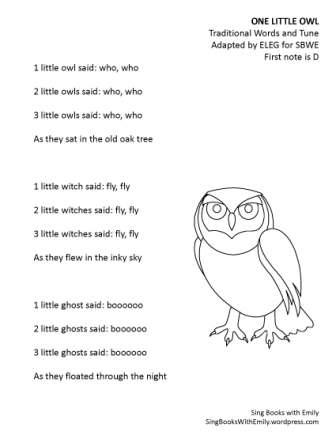 one little owl (SBWE for Halloween) song sheet NO CHORDS