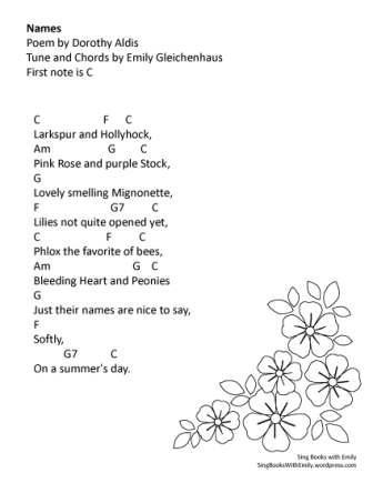 Names (Poem by Dorothy Aldis Tune by ELEG for SBWE) w Chords